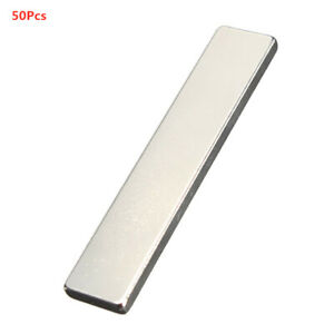 50pcs Strong Rare Earth Neodymium Fridge Bar Block Magnet Strip Tool 50x10x3mm
