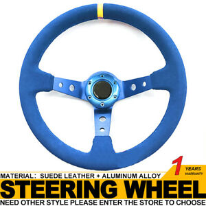 Universal 14in Blue Suede Leather Red Aluminum Deep Dish Racing Steering Wheel