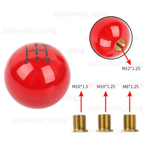 5 Speed Fuckin Fast Round Ball Red Gear Shift Knob Lever M8 M10 M12 Thread