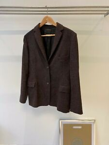 Jill Sander Brown Alpaca Button Down Semi Tailored Pocket Detail Jacket UK 12