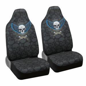 Winged Skull High back Seat Covers For Front Car Seats Soft Flexible Fabric
