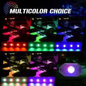 8 In 1 Car Pods Rgb Led Rock Light Offroad Wireless Bluetooth Music Controller
