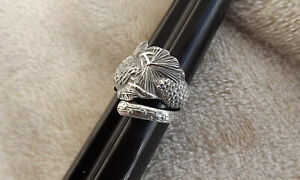 Pine Cone By Watson Sterling Floral Bypass Spoon Ring Size 6 1 2 7