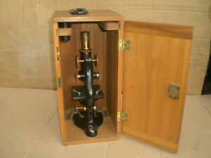 Antique 1915 Bausch Lomb Microscope With Wood Storage Case