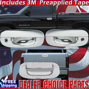 For 1994 2001 Dodge Ram 1500 94 02 Ram 2500 Chrome Door Handle Covers Tailgate