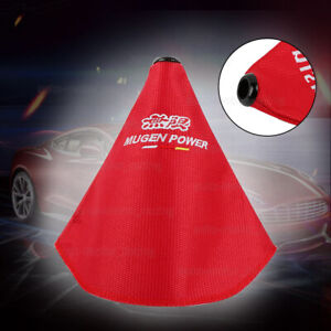 Mugen Shift Knob Shifter Boot Cover Mt At W Red Stitches Racing Fabric Jdm