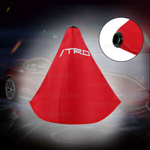 Jdm Trd Shift Knob Shifter Boot Cover Mt at W Red Stitches Racing Fabric Red
