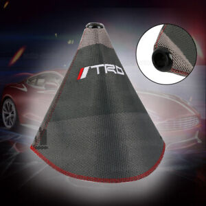 Trd Shift Knob Shifter Boot Cover Mt At W Red Stitches Racing Fabric Grey Mix