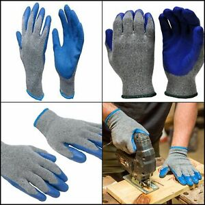 Knit Work Gloves Textured Rubber Latex Coated For Construction Men s Xlarge