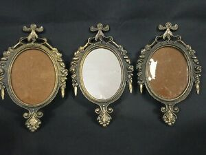 Vintage Small Ornate Oval Brass Colored Picture Frame Made In Italy Set Of 3