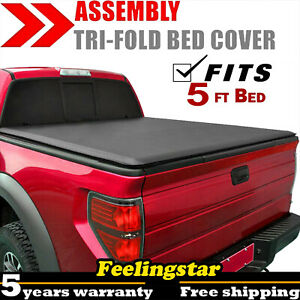 For 15 19 Nissan Frontier Pickup 4 door 5ft 60 Bed Soft Tri fold Tonneau Cover