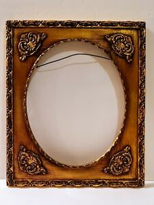 Vtg Gold Baroque Ornate Carved Wood Picture Frame W 8 By 10 Oval Opening Euc