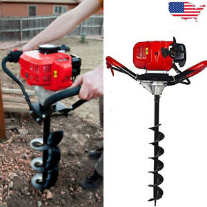 52cc One Man Air Cooled Head Digger Gas Power Earth Post Hole Auger 2 Stroke 1x