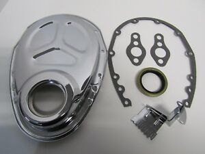 Small Block Chevy Chrome Timing Chain Cover Kit Sbc Gaskets Seal Tab 283 327 350