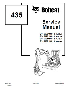 Bobcat 435 Compact Excavator Service Manual Shop Repair Pn 6902331 On Cd
