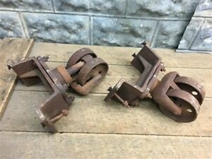 2 Vintage Cast Iron Factory Cart Dolly Wheels Industrial Machine Age Swiveling L