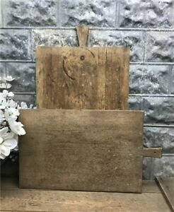 Pair Vintage French Wooden Bread Boards Charcuterie Boards Cutting Boards C