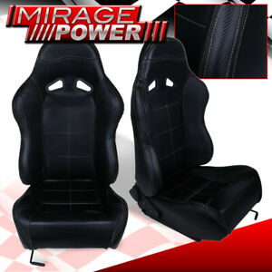 For Bmw Benz Euro Black Cf Look Pvc Leather Bucket Racing Seat Recline Slider