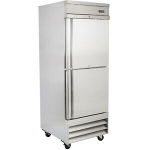 New Single Solid Split Door Cooler Stainless Reach in Refrigerator 20 6 Cu Ft