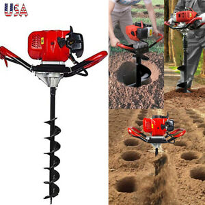 One Man 52cc 900ml 2 Stroke Earth Post Hole Auger Head Digger Gas Power Usa