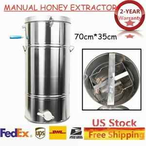 Manual Honey Extractor Stainless Steel Tank 2 Frame Beekeeping Bee Hive Equip