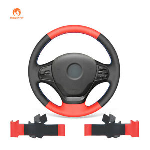 Black Red Pu Leather Steering Wheel Cover For Bmw 3 Series F30 F31 F34 F35 320i