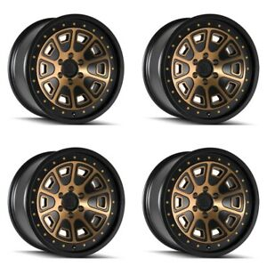 Set 4 17 Mayhem 8301 Flat Iron Black W bronze Tint Truck Wheels 17x9 5x5 6mm