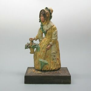 Bradley Hubbard Cast Iron Doorstop Lady With Basket Of Flowers Original Paint