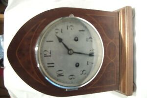 Antique Vintage Inlaid 30 Day Wooden Arched Striking Mantle Clock