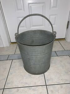 Vintage Galvanized Steel Pail Rustic Bucket Farm Country Chore Planter W Handle