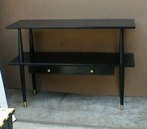 Mid Century Modern Table With Shelf Black Vintage