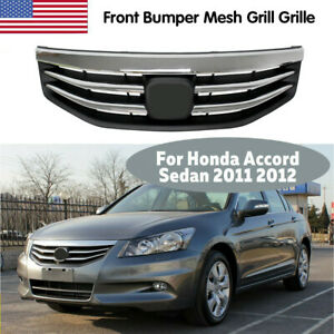 For Honda Accord Sedan 2011 2012 Car Front Bumper Mesh Grill Grille Chrome Black