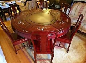 Chinese Rosewood Export Furniture Dining Set Mother Of Pearl Cherry Wood 1900