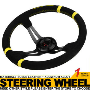 14 Inch 3 Spoke Deep Dish Jdm Sport Racing Drifting Steering Wheel Suede Leather