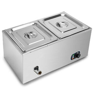 2 Pans Commercial Countertop Heated Food Display Case Warmer 2 Lids
