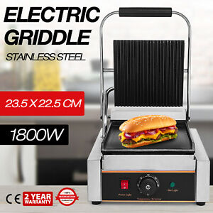 Commercial Electric Contact Press Grill Griddle Bbq Panini Sandwich Non stick