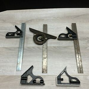 Machinist Toolmaker Combination Square Tool Set Lot Craftsman Protractor