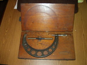 Used Brown Sharpe Outside Micrometer 7 To 8 In Wood Case With Master