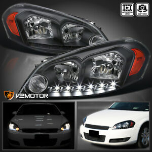 For 2006 2013 Chevy Impala 06 07 Monte Carlo Black Smd Led Strip Headlights Lamp