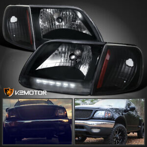 For Black 1997 2003 Ford F150 Expedition Led Headlights Signal Corner Lamps Pair