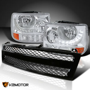 Chevy 99 02 Silverado 1500 2500 1pc Style Headlights W Led Mesh Grille Black