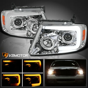 Fits 2004 2008 Ford F150 Led Sequential Signal Strip Projector Headlights L r