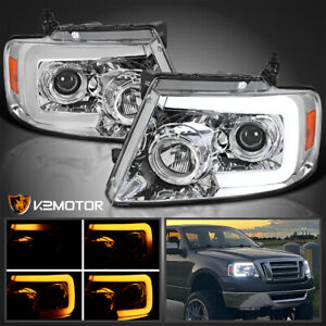 Fits 2004 2008 Ford F150 Led Drl Bar Sequential Signal Projector Headlights L R