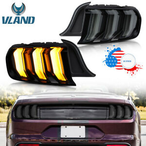 Vland Led Tail Lights For 2015 2019 Ford Mustang 5 Mode Style Rear Lights Smoke