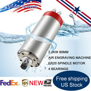 2 2kw Water Cooled Spindle Motor Er20 220v 4 Bearings For Cnc Engraving Router