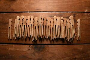 40 Vintage Wood Flat Side Round Top Push Style Clothes Pins