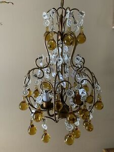 Antique Vintage Italian Crystal Beaded Murano Glass Birdcage Petite Chandelier