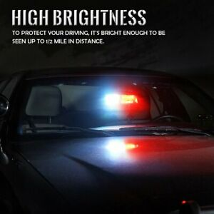 16 Led Red And White Car High Intensity Law Enforcement Emergency Strobe Light F
