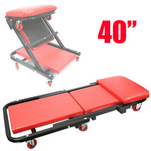 40 Foldable Z Creeper Seat Rolling Chair Mechanics Shop Garage Work Stool Red