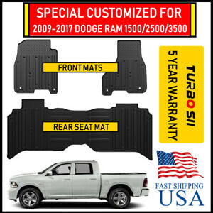 Fit Aii Inclement Weather Floor Mats For 09 17 Dodge Ram 1500 2500 3500 Crew Cab